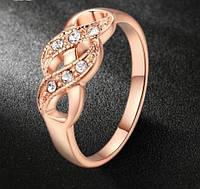 Позолоченное кольцо с фианитами р 16,17,18,19 код 637