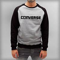 """Свитшот мужской серый с черными рукавами """"Converce"""" Конверс"""