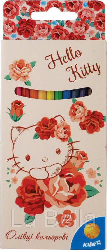 Карандаши цветные для рисования Hello Kitty, 12 цветов