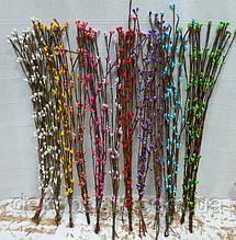 Декоративная веточка вербы с почками 40см, цвета в асортименте