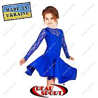 Платье рейтинговое бифлекс с гипюром П1642 синий