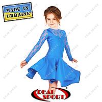 Платье рейтинговое бифлекс с гипюром П1642 бирюза