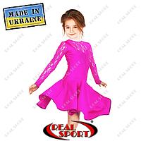 Платье рейтинговое бифлекс с гипюром П1642 малиновый