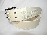 Светлый мужской кожаный широкий ремень Calvin Klein