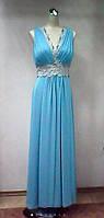 Платье женское летнее банкетное вечернее нарядное шелковое голубое стильное молодежное