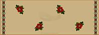Красные маки с орнаментом вышитые крестиком на коричневой основе