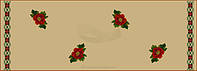 Красные маки с орнаментом вышитые крестиком на коричневой основе, фото 1