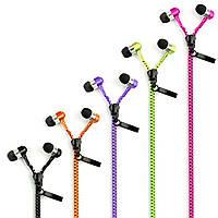 Вакуумные наушники на молнии Zipper Earphones. С микрофоном