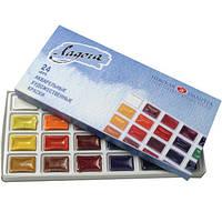 Набор акварельных красок, Ладога, 24 цв., кювета, картон, фото 1