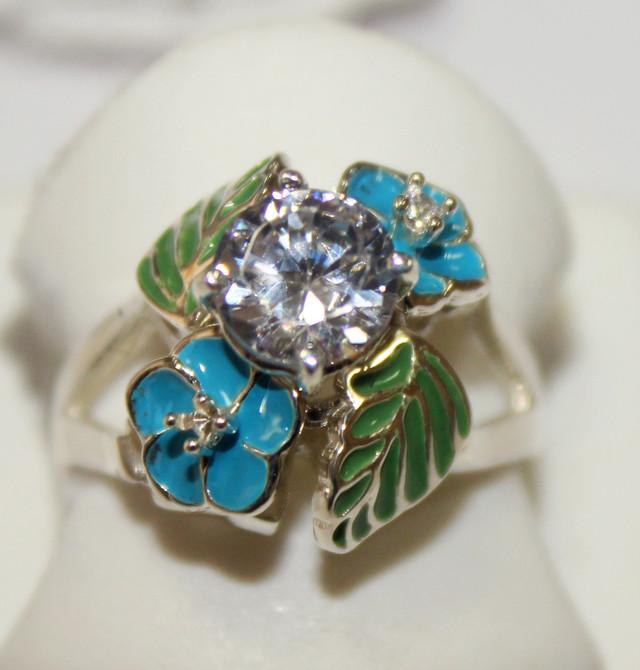 Кольцо серебряное с цветной эмалью Поляна