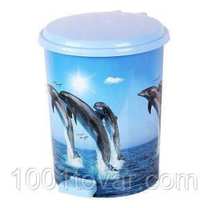 """Ведро педальное Еlif, с рисунком """"Дельфины"""", 11 л."""