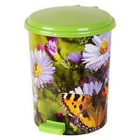 """Ведро педальное Еlif, с рисунком """"Цветы с бабочкой"""", 7 л."""