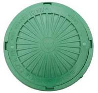 Люк смотровых колодцев полимерный зеленый с замком, нагрузка 3 тонны