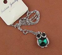 Подвеска сова с зеленым кристаллом 2,5*2 см на цепочке