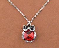 Подвеска сова с красным кристаллом 2,5*2 см на цепочке