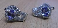 """Серебряные серьги с танзанитами """"Лавика"""" от студии  LadyStyle.Biz"""