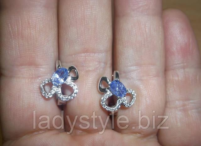серебряные серьги украшения купить натуральный танзанит подарок серебро