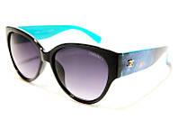 Женские очки Chanel 5333 C161 SM 02397, модные солнцезащитные очки капли черные с голубыми дужками