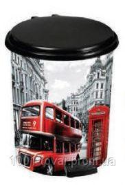 """Ведро педальное Еlif, с рисунком """"London"""", 7 л."""