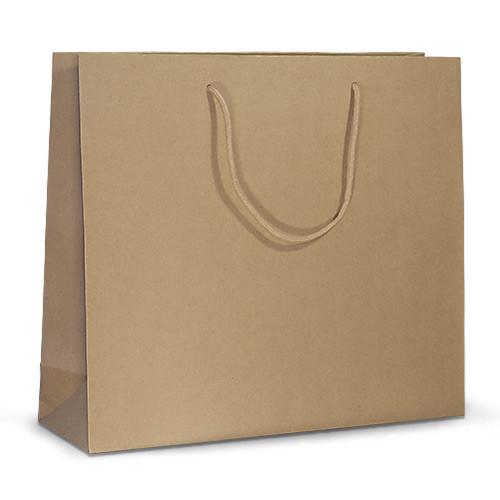 Бумажный ламинированный пакет ELEGANT 42х13х37 коричневый с ручками