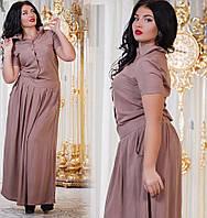 Женское длинное платье из штапеля на пуговицах. Цвет темно синий, капучино, морковка. Размер 50-56. DG с421