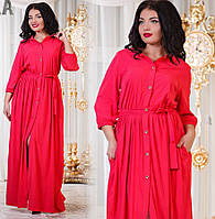 Женское длинное платье на пуговицах с карманами.Ткань штапель. Цвет - джинс, коралловый. Размер 50-56. DG д798