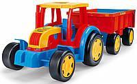 Большой игрушечный трактор Wader Гигант с прицепом (66100)