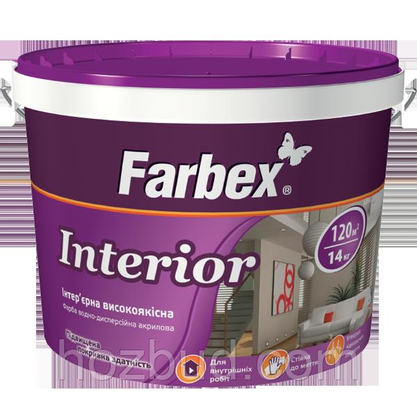 """Краска Farbex интерьерная высококачественная """"Interior"""" (Интериор), 12 кг (База С)"""