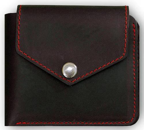 Мужское стильное кожаное портмоне BlankNote BN-PM-4-2-g-k графит-клубника