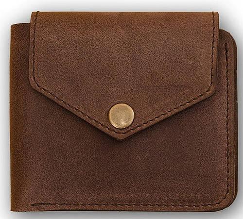 Надежное мужское портмоне на кнопке BlankNote BN-PM-4-2-o орех