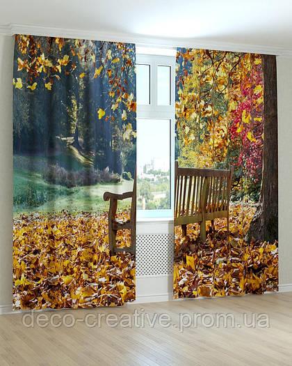 Фотошторы лавочка на ковре из желтых листьев