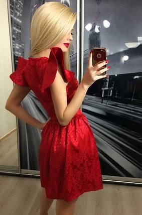Платье вечернее из атласа с жаккардом ft-232 красное, фото 2