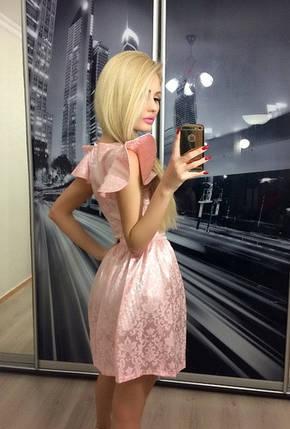 Платье вечернее из атласа с жаккардом ft-232 пудра, фото 2