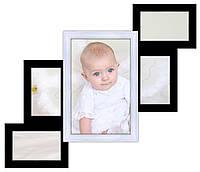 Деревянная мультирамка на 5 фото Лесеннка 5, черно-белая