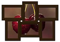 Деревянная мультирамка на 6 фото Классика  6, шоколад (венге)