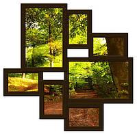Деревянная мультирамка на 7 фото Волна любви, шоколад (венге)