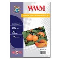 Фотобумага WWM матовая 230г/м кв , A3 , 100л (M230.A3.100)