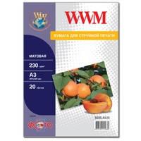 Фотобумага WWM матовая 230г/м кв , A3 , 20л (M230.A3.20)