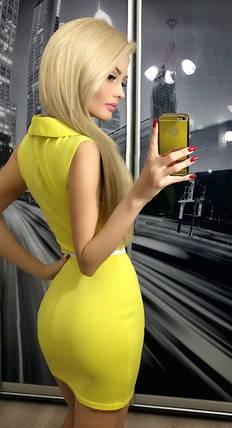 Платье коктельное вояж, желтое, фото 2