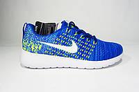 Женские, подростковые кроссовки Nike Flyknit, текстиль, синие с голубым, Р. 36 39 40