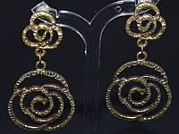 Серьги - пуссеты, антич.бронза, розы 145_10a9
