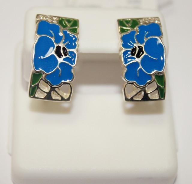 Серьги серебряные с синей эмалью Мак