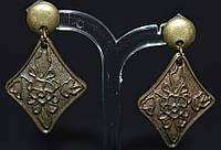 Серьги - пуссеты, антич.бронза, ромб в цветах 145_10a15