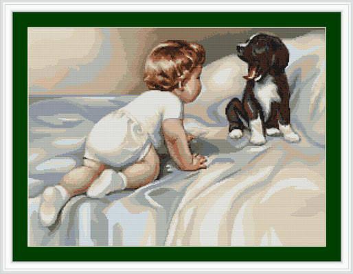 """Набор для вышивания нитками  """"Мальчик с собакой"""", фото 2"""