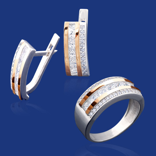 Серебряный комплект Даниэла: серьги и кольцо с золотом и фианитами 33384-3338685