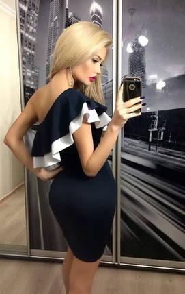 Платье на одно плечо, темно-синее, фото 2