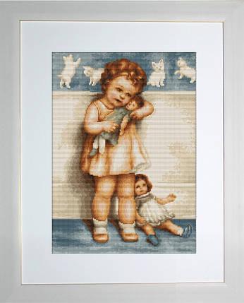 """Набор для вышивания нитками  """"Девочка с куклой"""", фото 2"""
