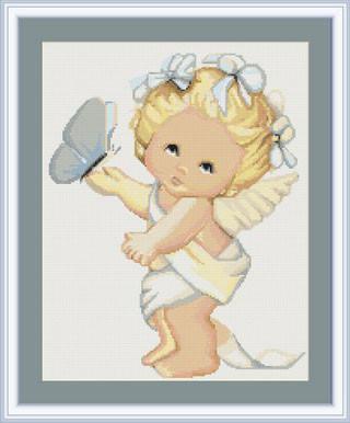"""Набор для вышивания нитками  """"Ангелочек с бабочкой"""""""