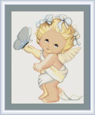 """Набор для вышивания нитками  """"Ангелочек с бабочкой"""", фото 2"""