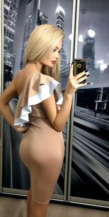 Платье с оборками на одно плечо ft-221 бежевое, фото 2